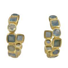 Manjusha Hoop Gemstone Tile Earrings