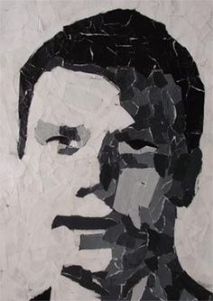 Torn paper portraits - use a picture that is black and white and add the paper to the to of it.