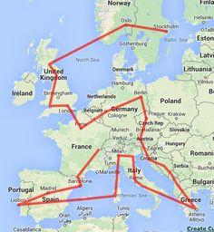 Possible trip itinerary:  Lyon - Andorra - Barcelona - Madrid - Lisbon - Malaga - Valencia - Ibiza - Corsica - Nice - Portofino - Cinque Terre - Milan - Verona - Venice - Florence - Rome - Naples - Athens - Mykonos - Split - Plitvice - Salzburg - Prague - Berlin - Koln - Brussles - Paris - Versailles - London - Cardiff - Nottingham - Edinburgh - Oslo - Stockholm