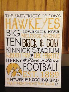 9 x 12 Subway Art - Iowa Hawkeyes Football 'Rustic' Looking Canvas NEED THIS!