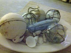 Antique fishing bobbers, net floats