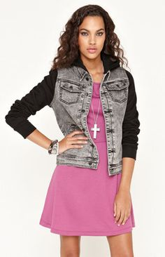 IDEA...take the body of a old denim jacket   add hoodie sleeves c26347d4e6