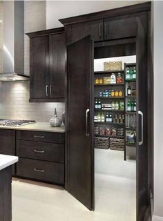 33 Amazing Secret Rooms You Will Want In Your Amazing Secret Rooms You Will Want In Your Home Raise Your Room With New Kitchen Design Your kitchen might be an operating space at home, but that . New Kitchen, Kitchen Decor, Kitchen Ideas, Room Kitchen, Stylish Kitchen, Kitchen Storage, Kitchen Pantry Design, Kitchen With Pantry, Decorating Kitchen