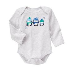 Baby Heather Grey Penguin Pals Bodysuit by Gymboree