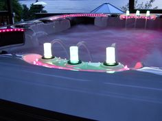 Hot tub with TV, surround sound, LED lights, squirting water fountain, and fog;)