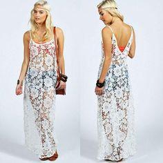 2015 New Fashion Women Summer Long Dress Sexy Spaghetti Strap Lace Robe  Smock Dress Beach Dresses Plus Size Maxi Dress 10 af8f56e9ca11