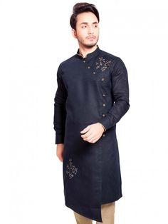 Solid navy hue cotton silk kurta suit - G3-MKS0992   G3fashion.com Indian Men Fashion, India Fashion, Mens Fashion, Pathani For Men, Pathani Kurta, Gents Kurta Design, Cotton Silk Fabric, Smart Casual Wear, Nehru Jackets