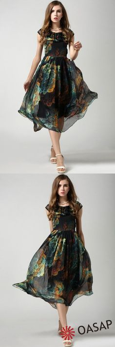 Dark romance, mysterious queen in a fly #dress Artisitic Floral Print Chiffon Midi Swing Dress