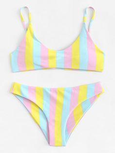 5a882105a65ed3 Striped Bikini Set Romwe, Classy Outfits, High Leg Bikini, Bikini Set,  String