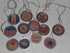 12 Assorted Primitive Americana Patriotic July 4th 1 1/4 Inch Metal Rim Hang Tags - Tie Ons - Gift Tag - Miniature Tree Ornaments - Ornies by ChooseMoose on Etsy