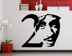 Tupac 2PAC Wall Sticker Rap Hip Hop Music by AwesomezzDesigns