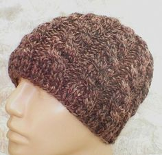a9cd91927f9 Cable beanie hat taupe brown tweed hat mens womens beanie hat brown hat  mens womens winter hat chemo cap mens womens knit hat cable knit hat