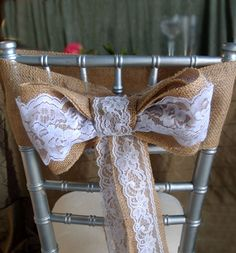 burlap and lace chair bow Burlap Fabric, Burlap Lace, Chair Bows, Floral Supplies, Favor Bags, Gift Packaging, Event Decor, Clothes Hanger, Ribbon