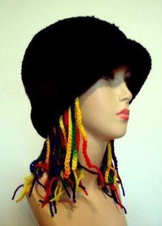Unusual crocheted hat crazy hat hippie hatfun hat I died by Iryna
