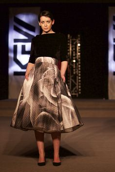 Quilted Rose print skirt from Tina Griffin 2015 Collection. www.tinagriffin.ie