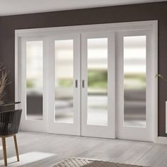 these Easi-Slide white full pane sliding doors incorporating a frame and track set with fixed side insets includes obscure safety glass #slidingdoors #glazeddoors