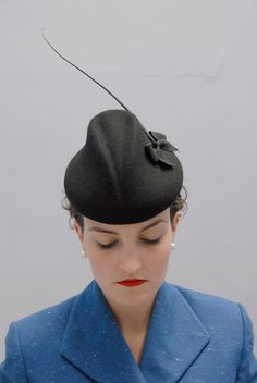 The Akiko Black Cocktail Hat. Wool Felt, Bow and Quill. Womens Wedding Millinery  Autumn Winter Fall Accessories. £95.00, via Etsy.