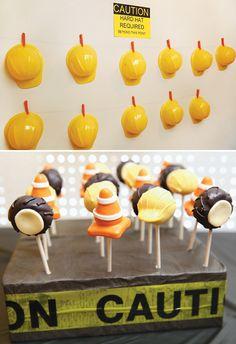 Smashing Construction Birthday Party - perfect way to display the hard hats!