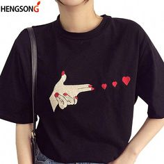Fashion Finger Heart Women'S TShirts Fashion Summer Tops Tees Short Sleeve ONeck Cotton TShirt Casual T Shirt Tops color White size M Cheap T Shirts, Casual T Shirts, Bow Crop Tops, Short Women Fashion, Women's Summer Fashion, Women's Fashion, T Shirts For Women, Clothes For Women, Summer Tops