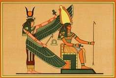 The Gods of the Egyptians The goddess Isis & Ptah-Seker-Ausar. Old Egypt, Ancient Egypt, Isis Goddess, Egyptian Art, Gods And Goddesses, Traditional Art, Africa, Sketches, History