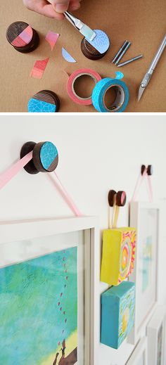 This easy DIY adds color and personality to these round wood decorative hooks by Young House Love. Just use washi tape and Mod Podge to create a totally new look.