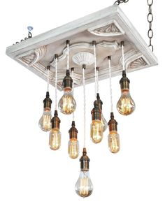 Custom Lighting - Nostalgic Chandelier -One Of A Kind- With 9 Edison Bulbs: Shabby Chic Lighting, Industrial Lighting, Modern Light
