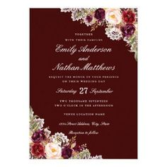 Elegant Burgundy Floral Lace Wedding Invitation - invitations custom unique diy personalize occasions #weddinginvitation