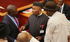 Nigerian Senate President, Bukola Saraki at plenary on Wednesday announced the  defection of M...