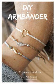 DIY Armbänder mit Schiebeverschluss basteln . Ein schönes DIY Geschenk für die beste Freundin.