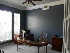wall color (sherwin williams granite peak) and trim: design dump: before + after--the power of an hour: masculine office