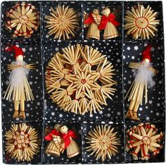 Scandinavian Swedish Straw Christmas Ornaments 38 pc bx We'll have these available!