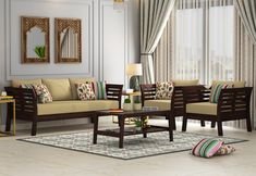 Add contemporary vibes to your living space with these sleek patterned gorgeous wooden sofa sets. Give a treat to your eyes with smooth and satin walnut finish. Upto OFF + extra OFF (SEASONAL OFFER) Living Spaces Furniture, Living Room Sofa Design, Home Room Design, Living Room Designs, Home Furniture, Living Room Decor, Furniture Ideas, Sofa Ideas, Space Furniture