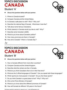 Canada, English, Learning English, Vocabulary, ESL, English Phrases, http://www.allthingstopics.com/canada.html