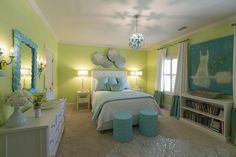 A fun room filled with by Mack Home. Flower stools, Tropical Mirror and Little Debbie Sconces. Funky Lighting, Ceiling Treatments, Beige Carpet, Turquoise, Bedroom Carpet, Curtains With Blinds, Cool Rooms, Beautiful Bedrooms, Child Room