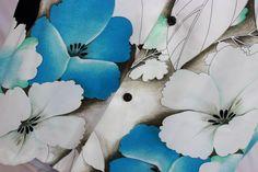 Vtg Malihini Abstract Mod Floral Hawaiian Aloha Button Shirt Hibiscus Teal Blue  #Malihini #Hawaiian