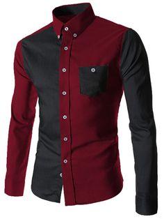 Color Block Spliced Turn-Down Collar Long Sleeve Pocket Button-Down Men's Shirt