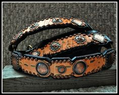 Custom halter, full leather, coral/brown hide with antique copper conchos