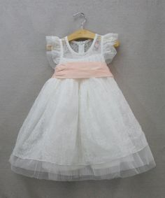 White & Pink Flutter-Sleeve Dress - Toddler & Girls | Daily deals for moms, babies and kids