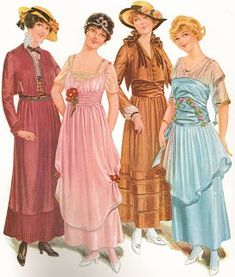 1915 pink and blue party dresses with sheer sleeves and flower