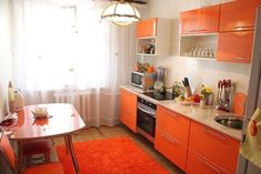 Kitchen Redo, Kitchen Cabinets, Homemade Toner, Orange Kitchen, Dining, House Styles, Interior, Table, Home Decor