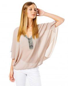 Blusa marrón transparente con pedrería