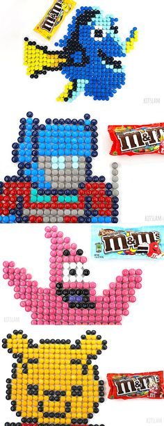 Cartoon Candy Mosaics made of M&Ms. Artist uses M&Ms to create your favorite Cartoon characters. Cute Art Projects, Mosaic Art Projects, Speed Art, Candy Art, Favorite Cartoon Character, Cute Art Styles, Crayon Art, Color Pencil Art, Food Drawing