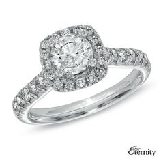 For Eternity 1.50 CT. T.W. Diamond Frame Engagement Ring in 14K White Gold  - Peoples Jewellers