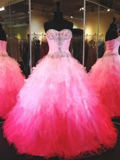Exclusive new style ombre sweetheart rhinestones quinceanera dresses / ball gown prom dresses