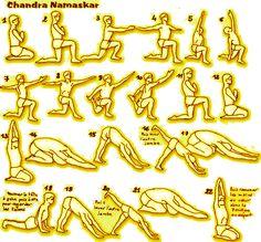 SALUTATION A LA LUNE Sur le même modèle que la Salutation au Soleil, une salutation plus féminine, avec des étirements plus importants dans les hanches, les épaules et les tendons. Agit sur le corps tout entier. Le meilleur moment pour pratiquer la salutation...