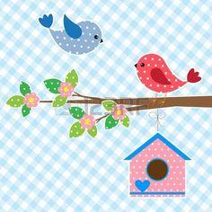 Couple d'oiseaux et de conception de carte birdhouse.Vector photo