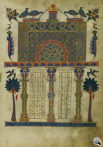 A page of the canon tables from the Zeyt'un Gospels from 1256. (Photo: J. Paul Getty Museum)