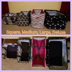 Size differences, left to right Square, medium, large, deluxe utility totes Thirty One Party, Thirty One Gifts, Thirty One Organization, Organization Ideas, Thirty One Uses, Thirty One Business, Large Utility Tote, Thirty One Consultant, 31 Gifts