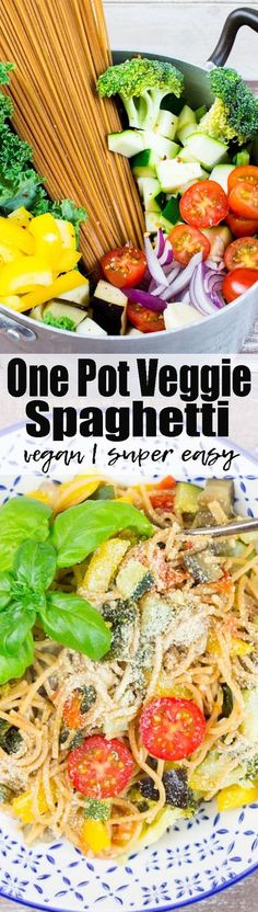 These vegetarian one pot spaghetti with vegetables are one of my favorite weeknight recipes! They're vegan, super easy to make, and so healthy!