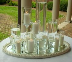 All White Candle Centerpiece